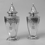 Tiffany Salt & Pepper Shakers Floral Scroll Colonial Revival 1911 Sterling Heavy