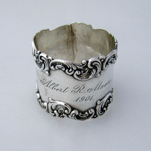 Fancy Scroll Border Baroque Napkin Ring Gorham Sterling Silver 1901