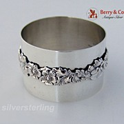 Floral Napkin Ring  Aucello Italian Sterling Silver 1950