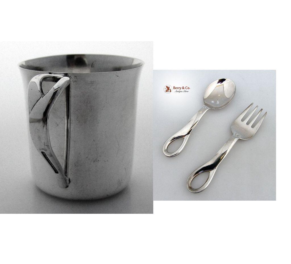 Elsa Peretti Padova Baby Cup Spoon Fork Tiffany Sterling