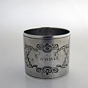 Fannie Napkin Ring Coin Silver 1870