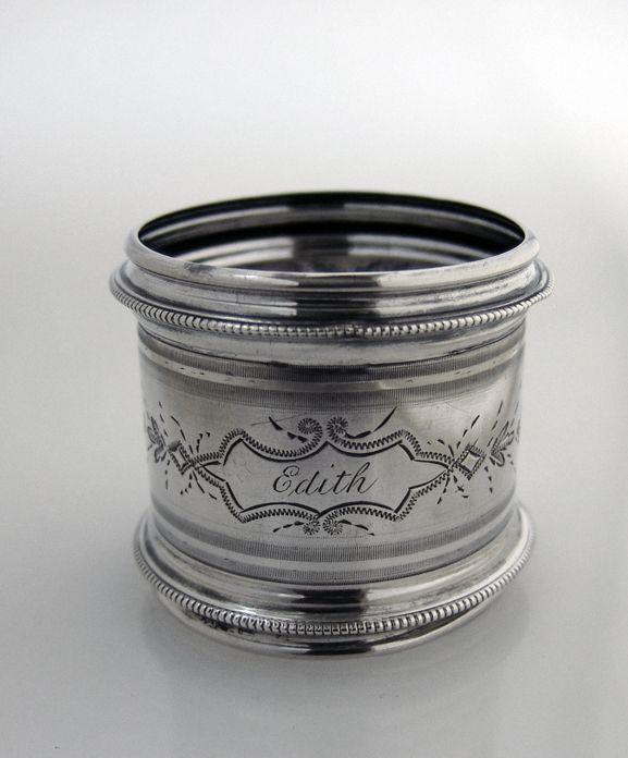 Edith Engraved Napkin Ring Coin SIlver 1870