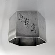 English Napkin Ring Hexagonal Sheffield Sterling Silver 1943 RKK Monogram