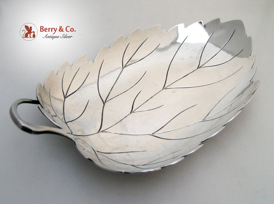 Leaf Form Hand Made Serving Bowl Asian Sterling 1920