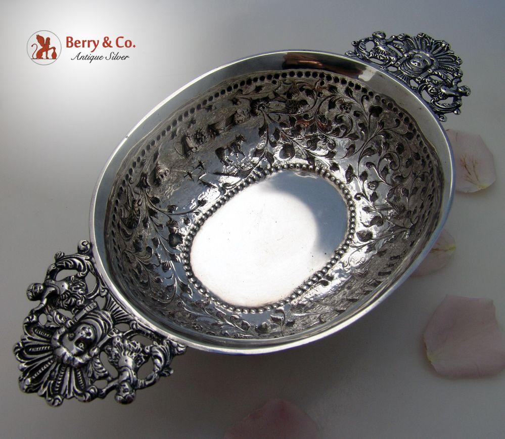 Dutch Brandy Bowl 1899 Landscape Repousse 1899 833 Standard Silver
