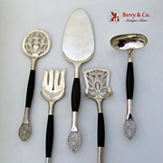 Silver and Horn 5 Serving Pieces 900 Standard Filigree Handles