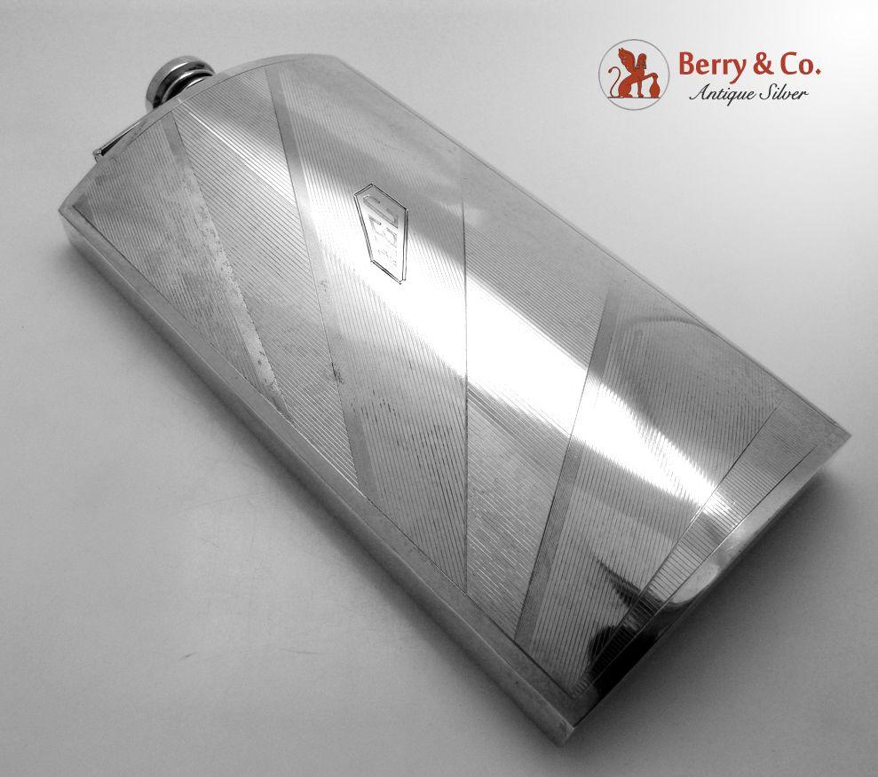 Art Deco Gentleman's  Flask 1 Pint International Sterling Silver 1930