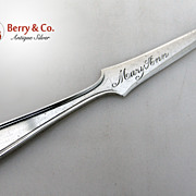 Letter Opener Calvert S. Kirk and Son Sterling Silver 1927 Mary Anne