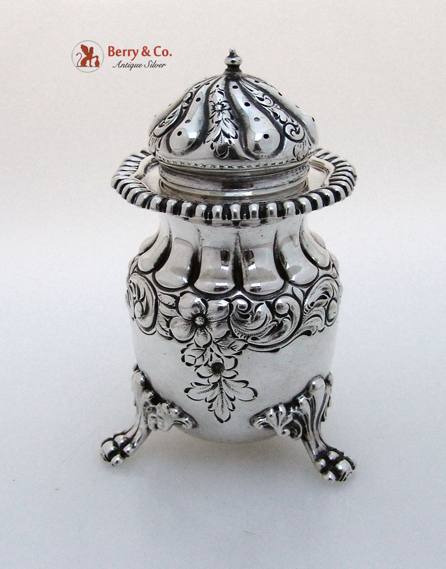 Large Ornate Heavy Salt Shaker Knowles Sterling Silver 1890