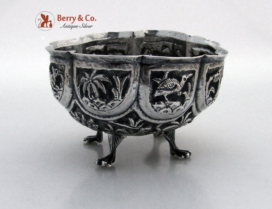 Indian Paneled Repousse Bowl Elephant Tigers Deer Palm Trees Native Huts 900 Standard SIlver 1900