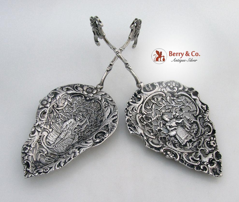 Large Monkey Spoons Pair Hanau 1890 800 Standard Silver