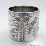 Bright Cut Sterling Silver Napkin Ring Christmas Inscription 1906