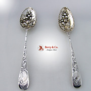 Georgian Serving Spoons 2 Repousse Floral Bowls Sterling Silver 1787 1812