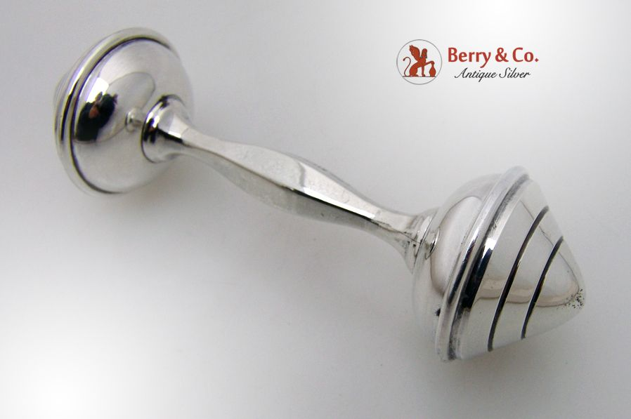 Baby Rattle Japanese 950 Sterling Silver 1920