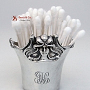 Art Nouveau Figural Lady Q Tip Holder William Kerr Sterling Silver Monogram JH