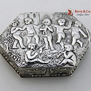 Hexagonal Figural Pill Box 800 Solid Silver 1880s
