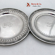 Pair of Bread Plates Schulz and Fisher Sterling Silver 1870