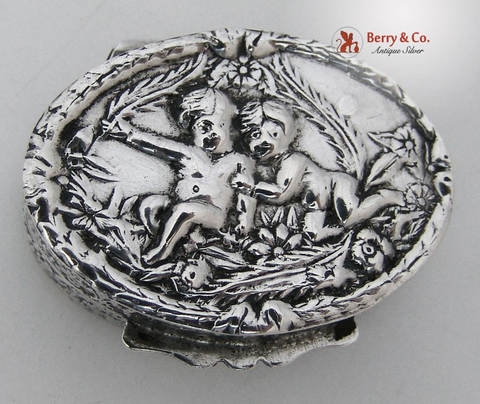 Cupid Figural Pill Box 835 Solid Silver