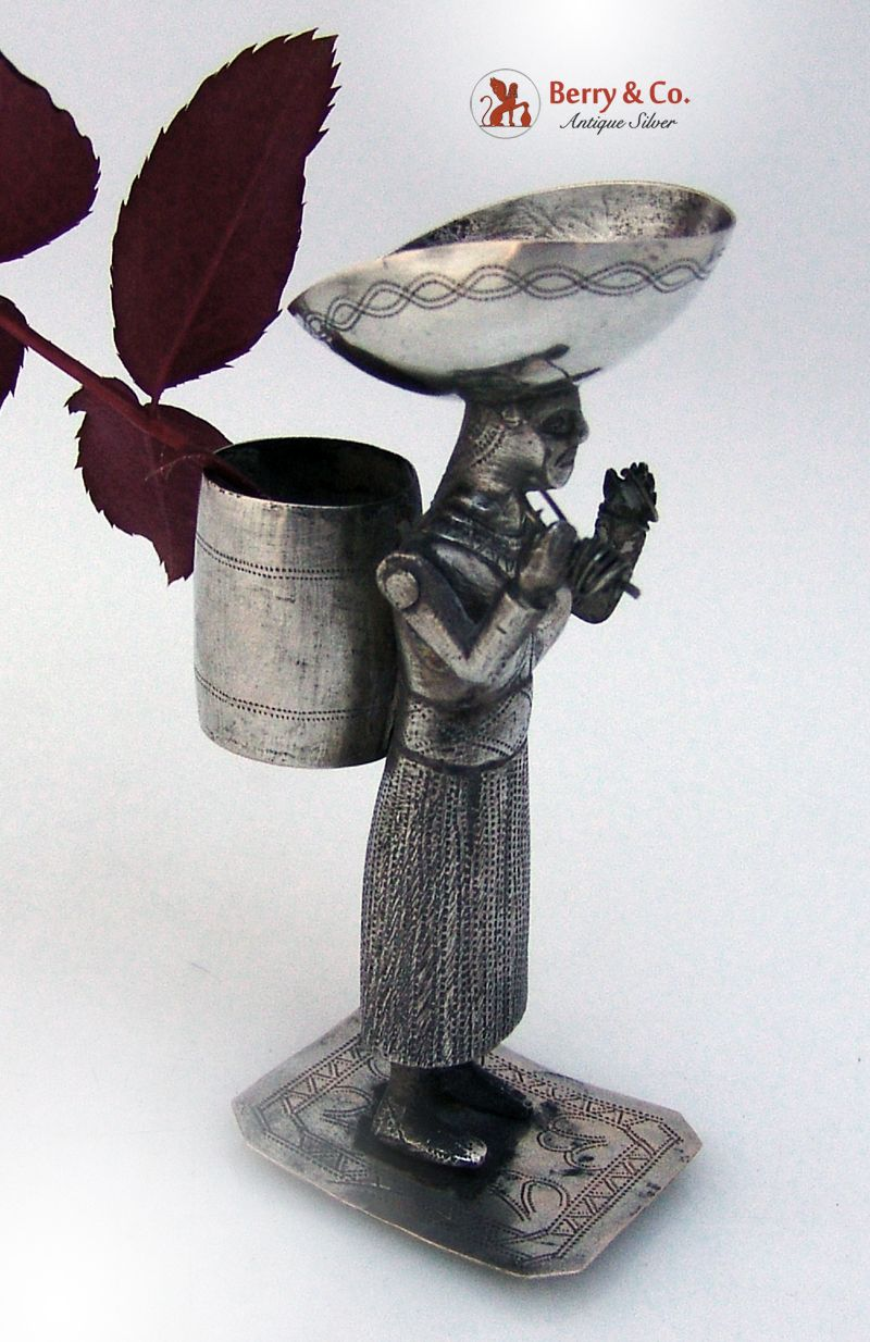 South American Figural Bud Vase or Toothpick Holder 1900