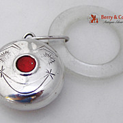 Baby Rattle Red Nose Sterling Silver Towle 1940