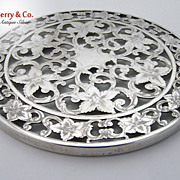 Overlay Coaster Floral Scroll 6 Inch Webster Sterling Silver 1940