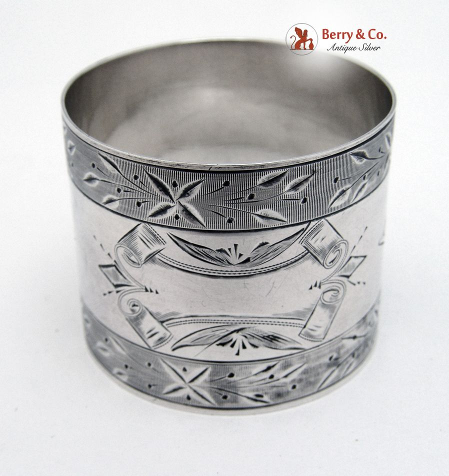 Bright Cut Napkin Ring Coin Silver 1890