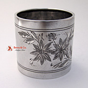 Bright Cut Napkin Ring Gorham Sterling Silver Hazel to Mama 1888
