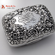 Repousse Soap Box Floral Scroll Gorham Sterling Silver Monogram JWMcL