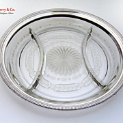Cut Glass Beaded Silver Rim Relish Dish Gorham 1940