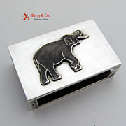 Enamel Elephant Box Cover Sterling Silver 1930
