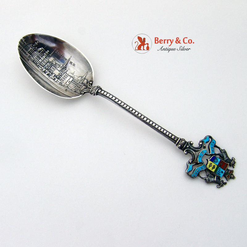 New Brunswick Souvenir Spoon Enamel Sterling Silver 1900