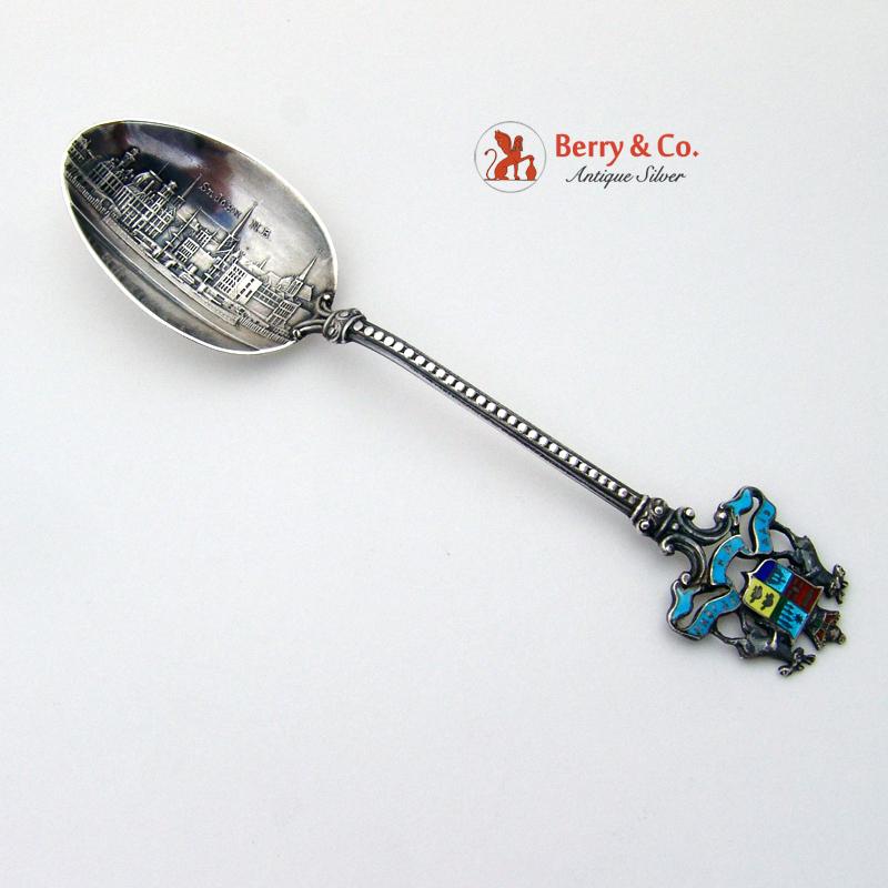New Brunswick Souvenir Spoon Enamel Sterling Silver 1900