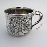 Shaving Mug Acid Etched Griffin Elephant Trunk Handle Gorham Sterling Silver 1900