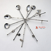 Japanese Figural Iced Tea Straws Sterling Silver 1930