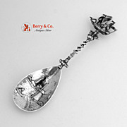 Dutch Sailing Ship Windmill Serving Spoon 833 Silver 1900