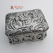 Antique Box Figural Musicians 800 Solid Silver 1890