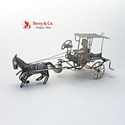 Caramata Horse Drawn Taxi Filigree Sterling Silver 1920