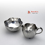 WMF Creamer and Sugar Crocodile Skin Silver Plate 1910