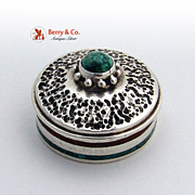 Traveling Candle Box Stone Inlaid Sterling Silver 1920