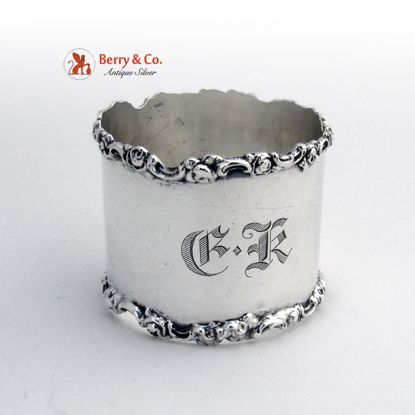 Rose And Scroll Napkin Ring Sterling Silver Shreve And