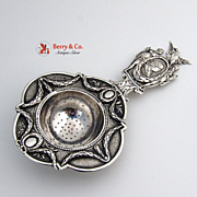 Elaborate Ornate 800 Silver 19th Century Hanau Imperial Tea Strainer Germany