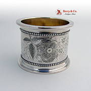 Massive Napkin Ring Bright Cut Coin Silver 1870