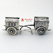 Flower Cart Salt Pepper Shakers Japanese Sterling 1930