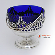 Condiment Bowl Floral Cut Work Cobalt Glass Sterling Silver 1920