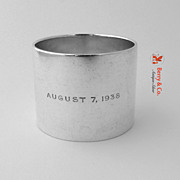 Tiffany Napkin Ring August 7 1938 DAH Sterling Silver