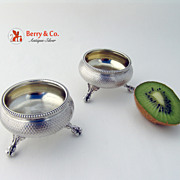 Engine Turned Salt Dishes Pair French Sterling Silver 1870 Horse Crest