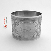 Coin Silver Engine Turned Napkin Ring 1880
