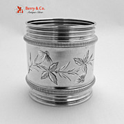 Coin Silver Napkin Ring Bright Cut Decorations 1880