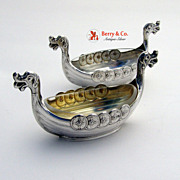 Viking Boat Pair of Salt Dishes Sterling Silver Norway
