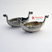 Viking Boat Pair of Salt Dishes 830 Silver Norway Nordcap Norge